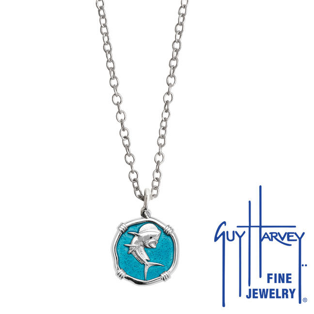 Guy Harvey Petite Cayman Green enameled Sterling Silver Dolphin Necklace - Stainless Steel Chain
