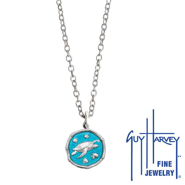 Guy Harvey Petite Cayman Green enameled Sterling Silver Sea Turtle Necklace - Stainless Steel Chain