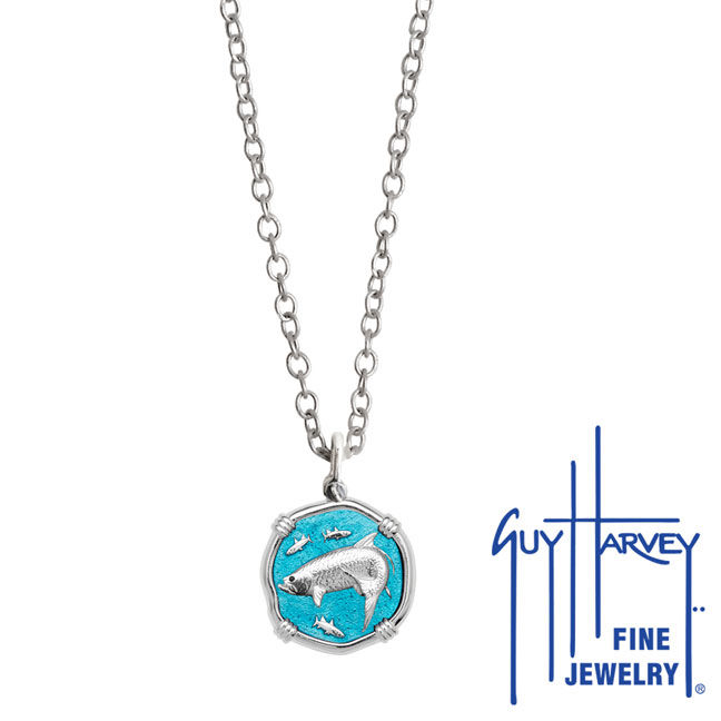 Guy Harvey Petite Cayman Green enameled Sterling Silver Tarpon Necklace - Stainless Steel Chain
