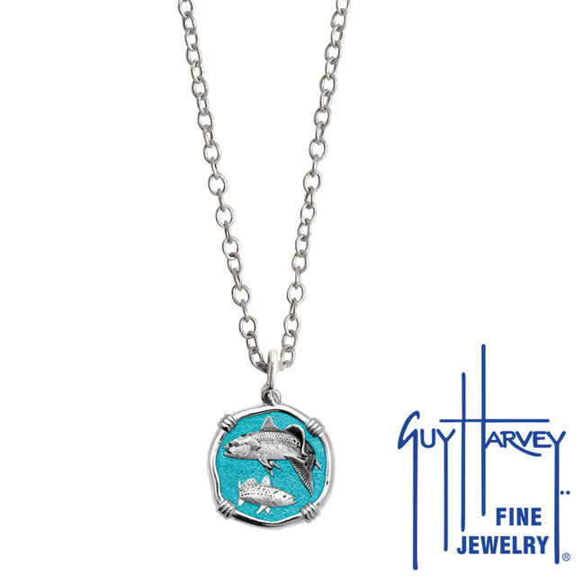 Guy Harvey Petite Green Enamel Sterling Silver Redfish & Trout Necklace - Stainless Steel Chain