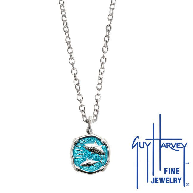 Guy Harvey Petite Cayman Green enameled Sterling Silver Tuna Necklace - Stainless Steel Link Chain
