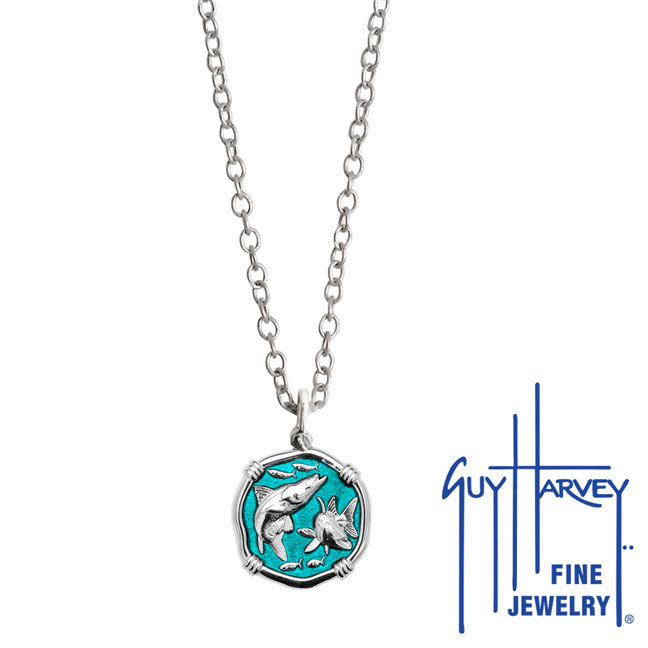 Guy Harvey Petite Cayman Green enameled Sterling Silver Snook Necklace - Stainless Steel Link Chain