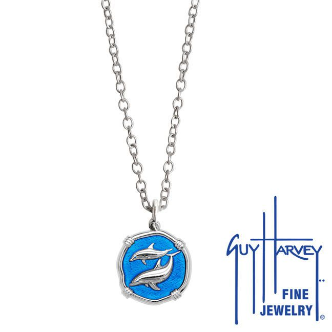 Guy Harvey Petite Caribbean Blue enameled Sterling Silver Porpoises Necklace - Stainless Steel Chain