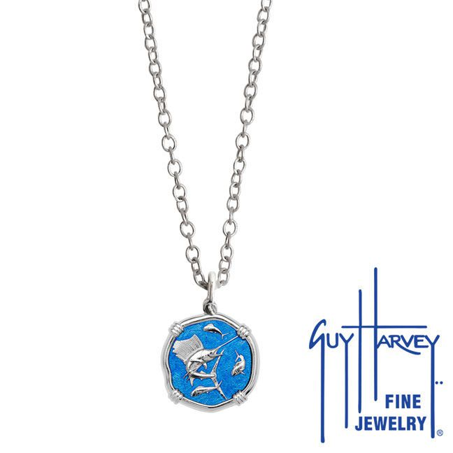 Guy Harvey Petite Caribbean Blue enameled Sterling Silver Sailfish Necklace - Stainless Steel Chain