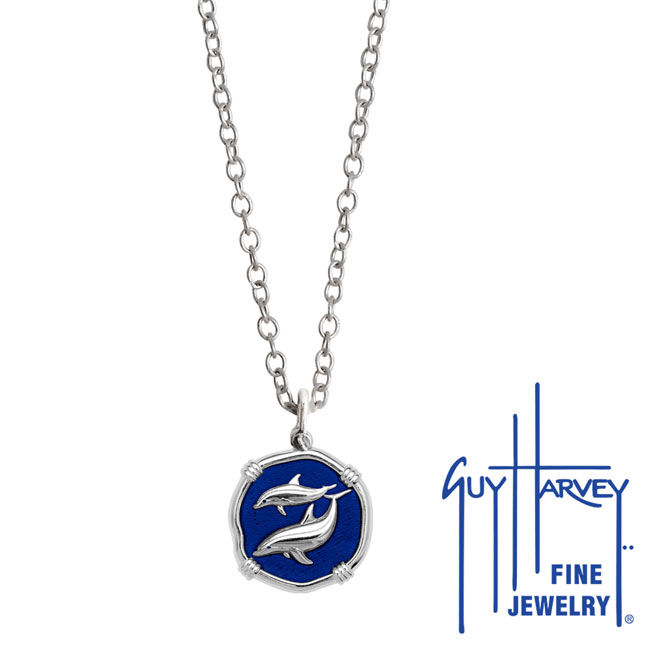 Guy Harvey Petite Gulf Stream Blue Enamel Sterling Silver Porpoises Necklace - Stainless Steel Chain