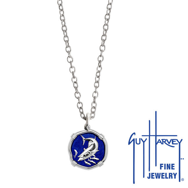 Guy Harvey Petite King Mackerel Necklace Blue Enamel Sterling Silver - Stainless Steel Chain