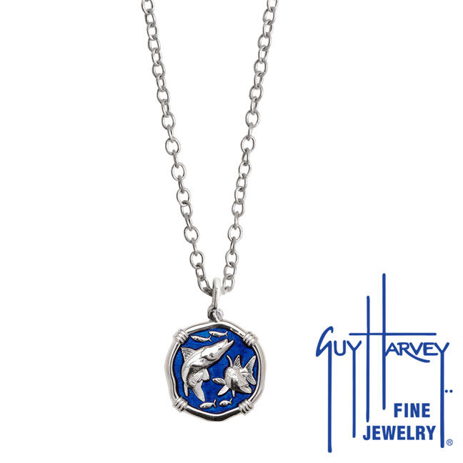 Guy Harvey Petite Gulf Stream Blue enameled Sterling Silver Snook Necklace - Stainless Steel Chain