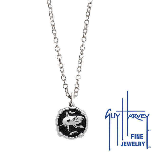 Guy Harvey Petite size Black enameled Sterling Silver Shark Necklace with Stainless Steel Link Chain