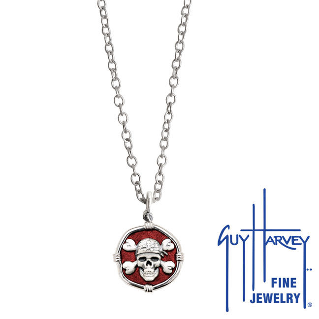 Guy Harvey Petite size Red enameled Sterling Silver Pirate Necklace with Stainless Steel Link Chain
