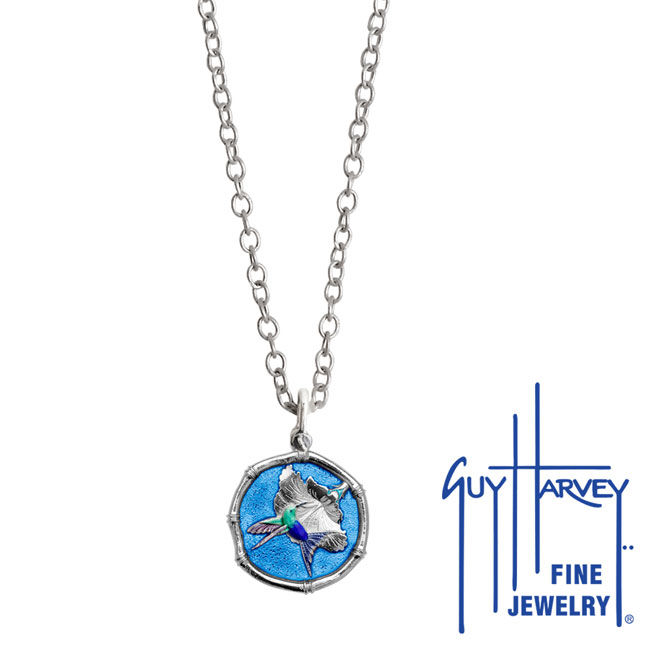 Guy Harvey Petite Blue Enamel Sterling Silver Hummingbird Necklace - Stainless Steel Chain