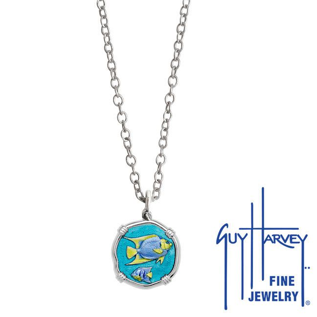 Guy Harvey Petite Full Color enameled Sterling Silver Angelfish Necklace - Stainless Steel Chain