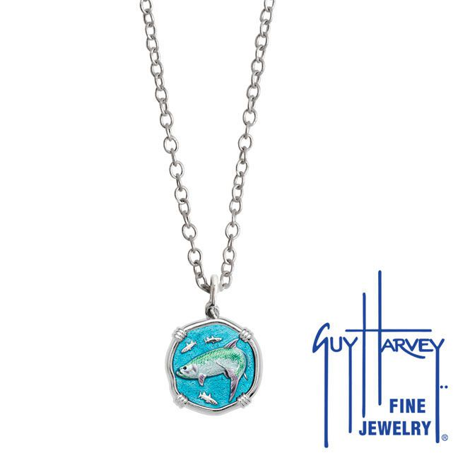 Guy Harvey Petite Full Color Enamel Sterling Silver Tarpon Necklace - Stainless Steel Link Chain