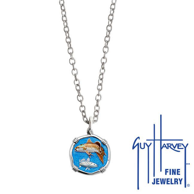 Guy Harvey Petite Full Color Enamel Sterling Silver Redfish & Trout Necklace - Stainless Steel Chain