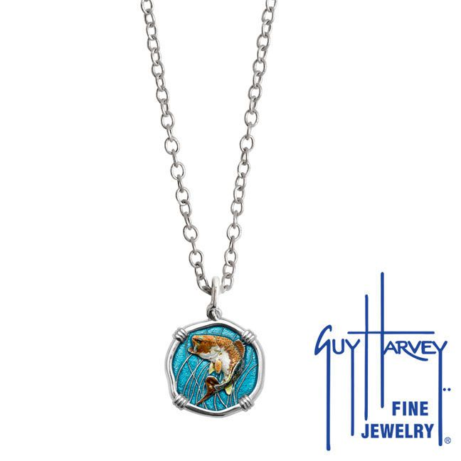 Guy Harvey Petite Full Color Enamel Sterling Silver Bass Necklace with Stainless Steel Necklace