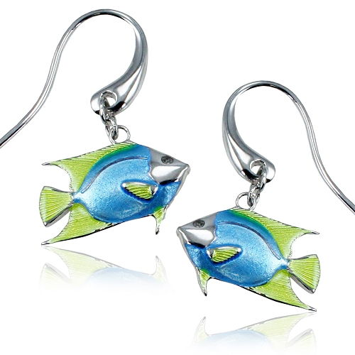 Guy Harvey Enameled Angelfish Earrings Crafted in Sterling Silver