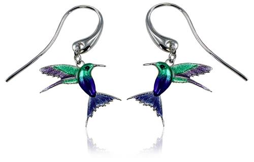 Guy Harvey Enameled Hummingbird Earrings Crafted in Sterling Silver
