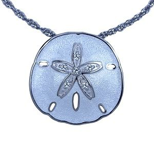 Guy Harvey Sand Dollar Necklace Enameled - Sterling Silver
