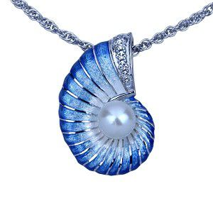 Guy Harvey Nautilus Necklace with Pearl - Enamel Sterling Silver