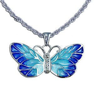 Guy Harvey Enameled Butterfly Necklace Crafted in Sterling Silver