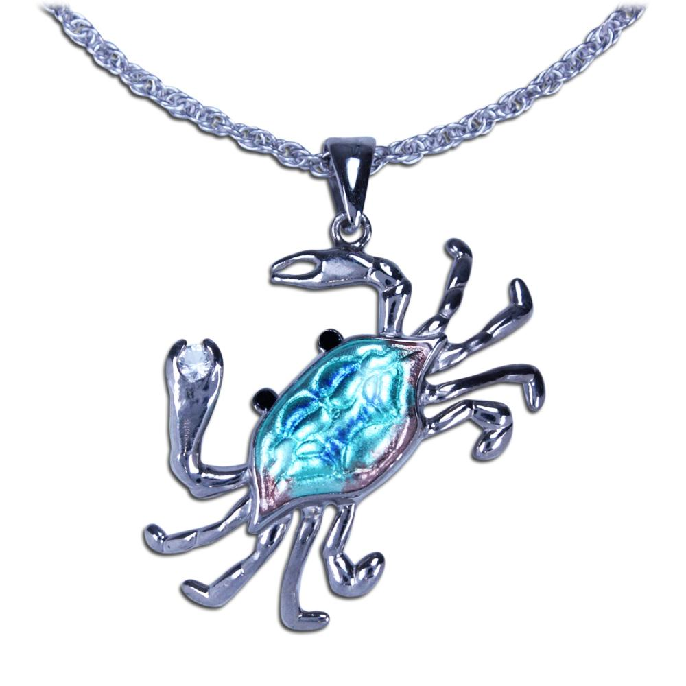 Guy Harvey Blue Crab Necklace with White Topaz and 18 Inch Chain