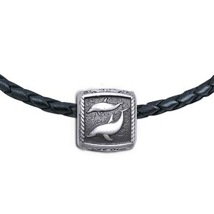 Guy Harvey Porpoise Trophy Slide Starter Necklace - Leather Color Cord