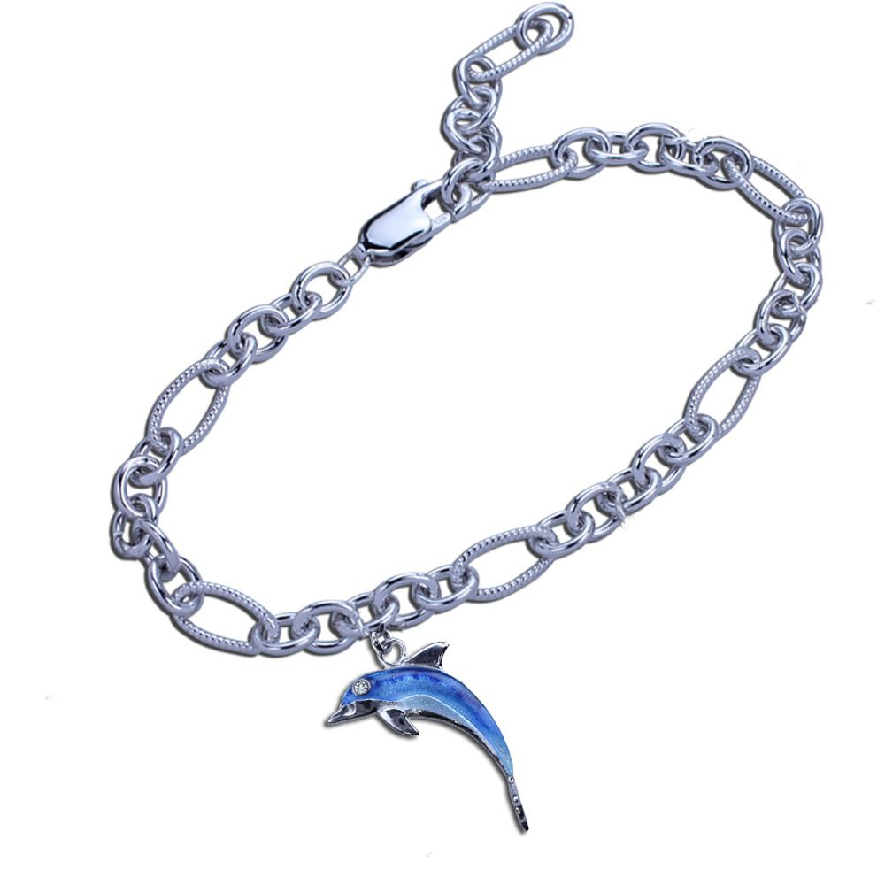 Guy Harvey Dolphin Charm Bracelet In Hard Fired Enamel And Sterling Silver