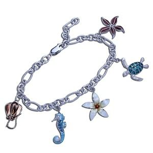 Guy Harvey Charm Bracelet in Hard Fired Enamel and Sterling Silver