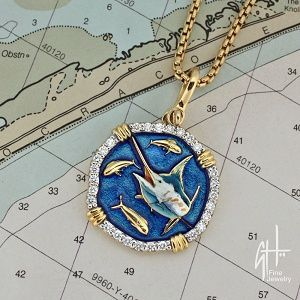 Guy Harvey 18K Gold and Diamond Marlin Necklace
