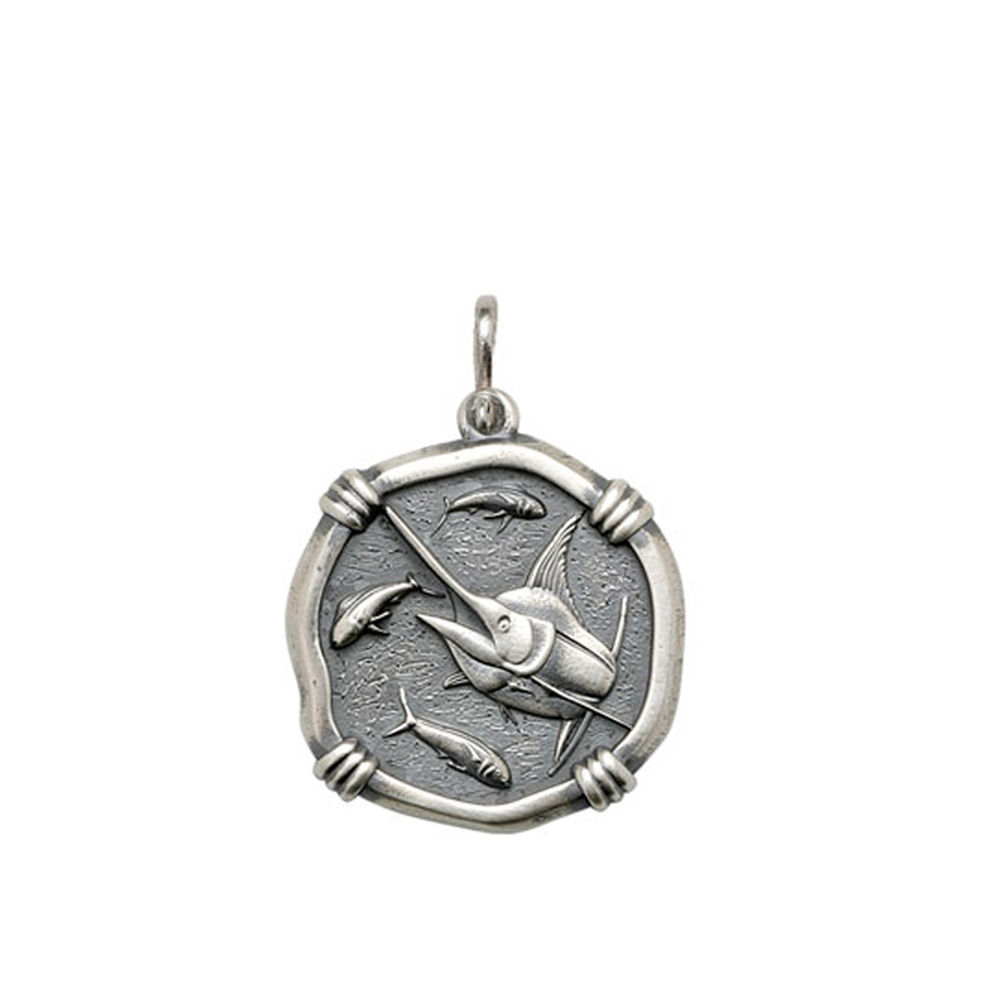 Guy Harvey Medium size Marlin Medallion Relic Finish Sterling Silver