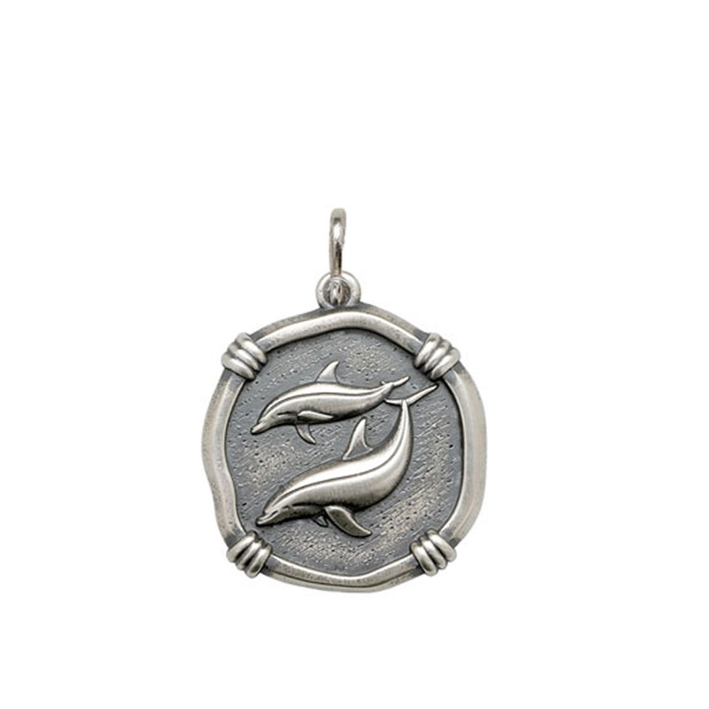 Guy Harvey Medium size Porpoises Medallion Relic Finish Sterling Silver
