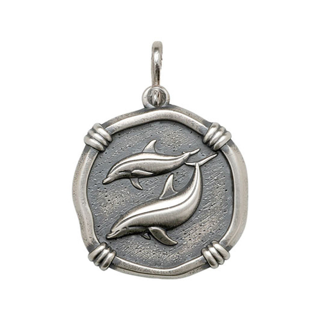Guy Harvey Large size Porpoises Medallion Relic Finish Sterling Silver