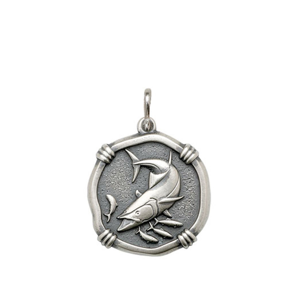 Guy Harvey Medium size King Mackerel Medallion Relic Finish Sterling Silver