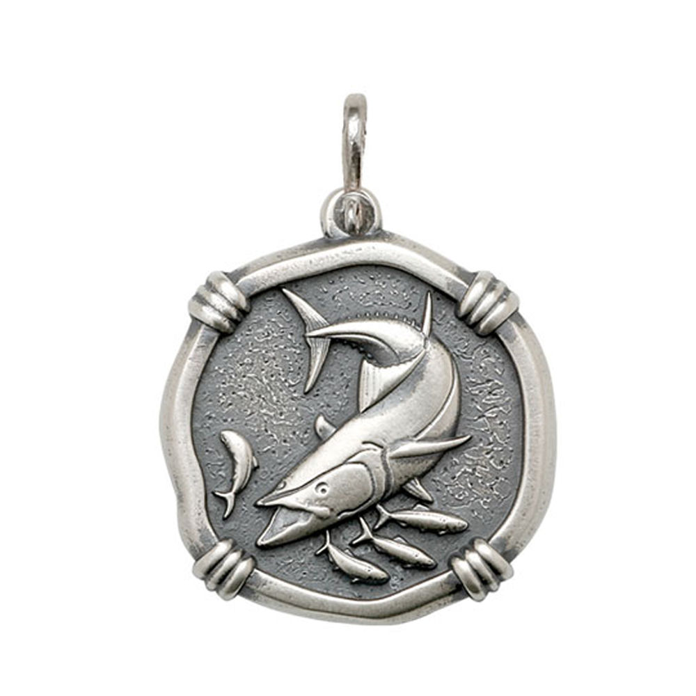 Guy Harvey Large size King Mackerel Medallion Relic Finish Sterling Silver
