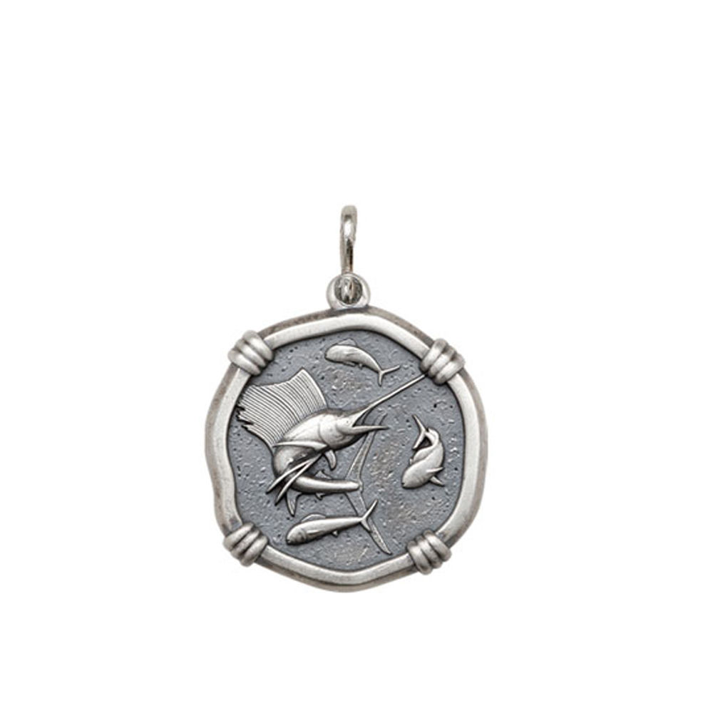 Guy Harvey Medium size Sailfish Medallion Relic Finish Sterling Silver