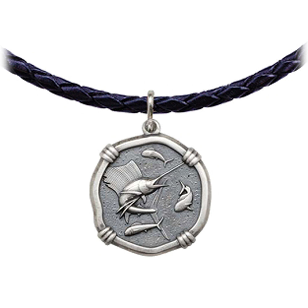 e8ff3ba7402 Guy Harvey Sailfish Leather Necklace Relic Finish 25mm Sterling Silver
