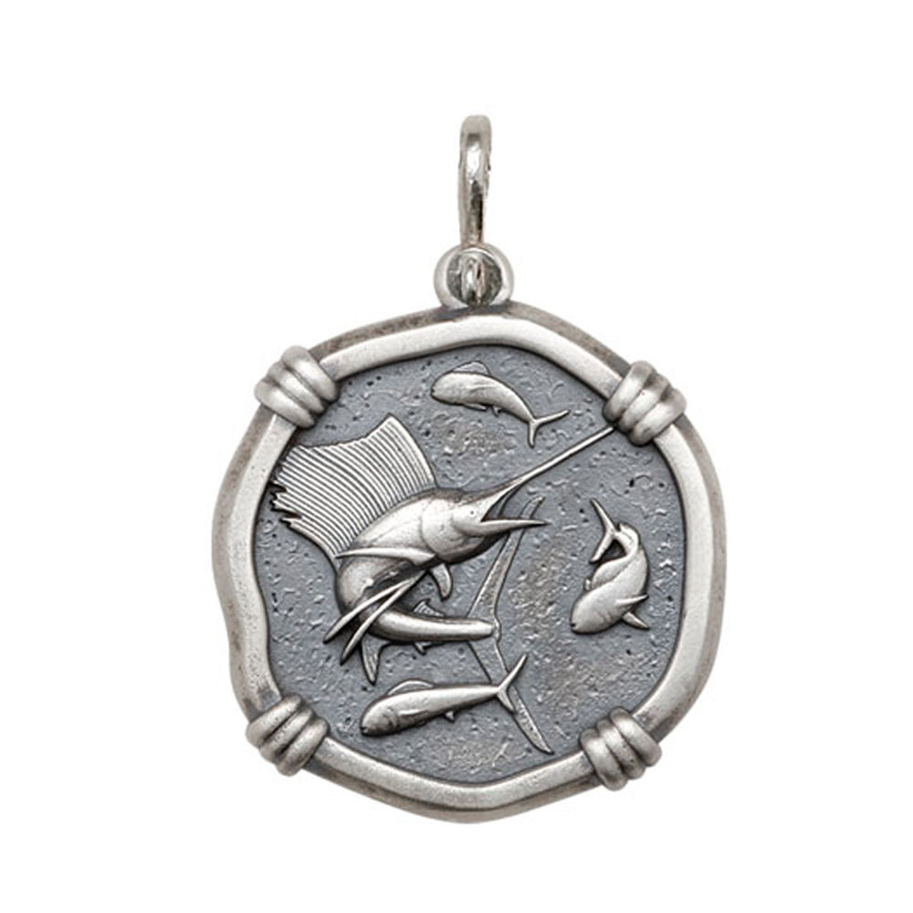 Guy Harvey Large size Sailfish Medallion Relic Finish Sterling Silver