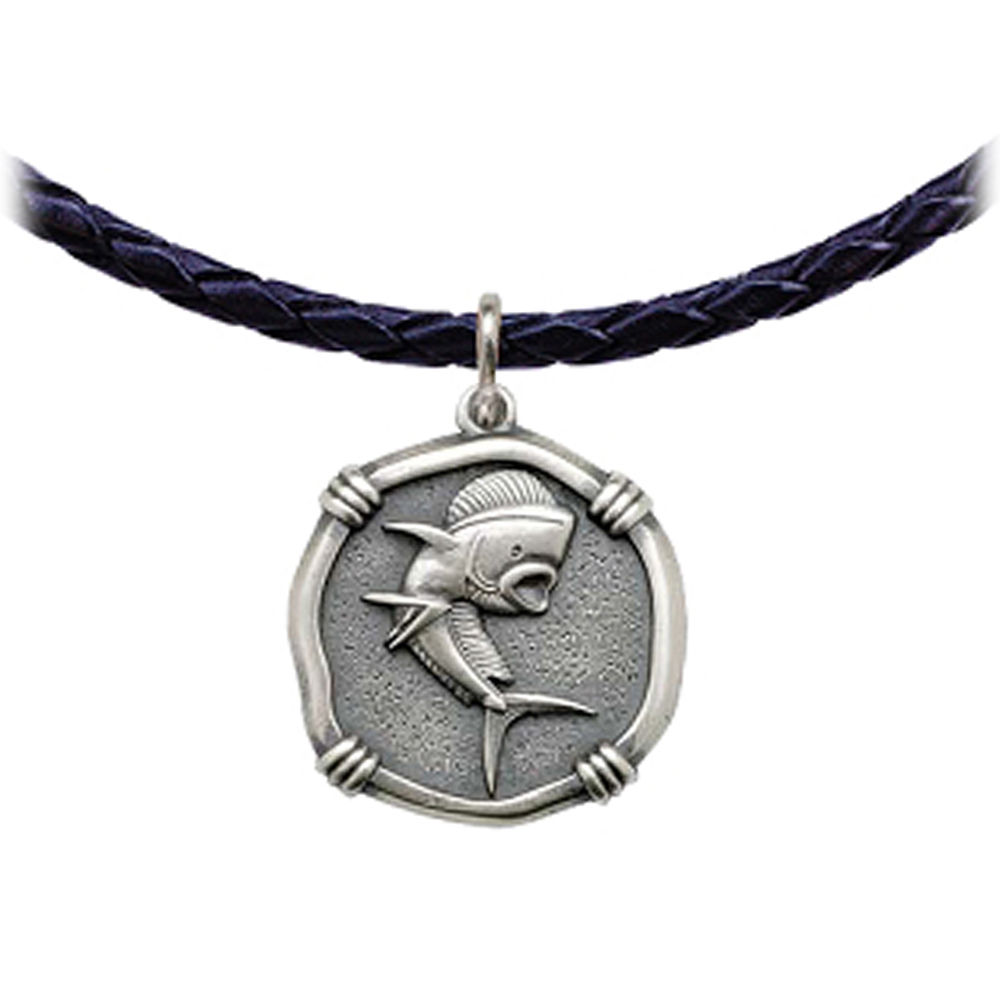 Guy Harvey Dolphin Leather Necklace Relic Finish 25mm Sterling Silver