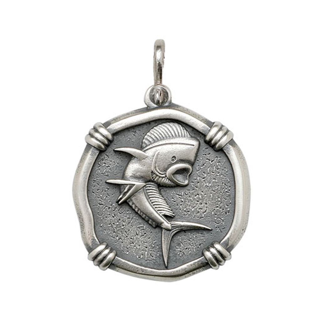 Guy Harvey Large size Dolphin Medallion Relic Finish Sterling Silver