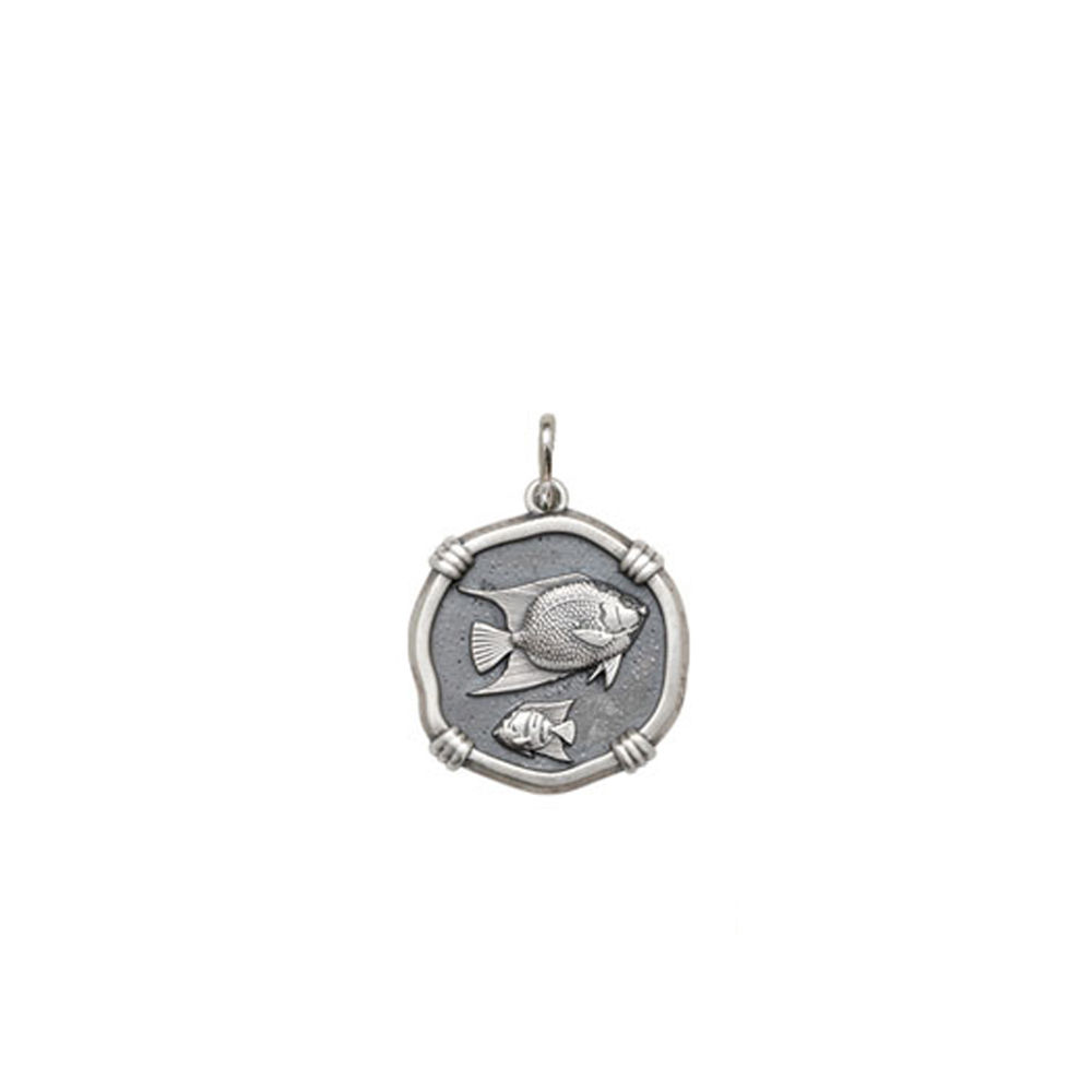 Guy Harvey Petite size Angelfish Medallion Relic Finish Sterling Silver