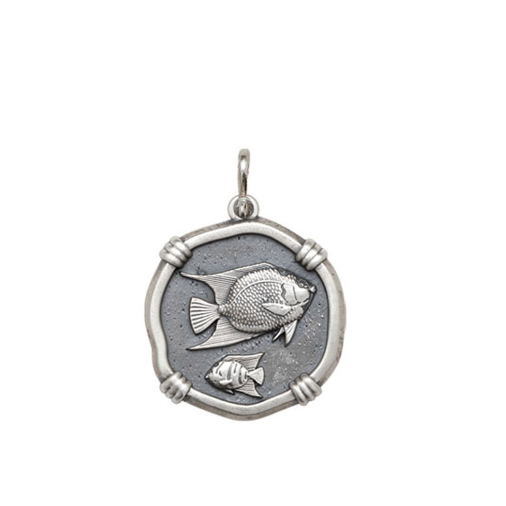 Guy Harvey Medium size Angelfish Medallion Relic Finish Sterling Silver