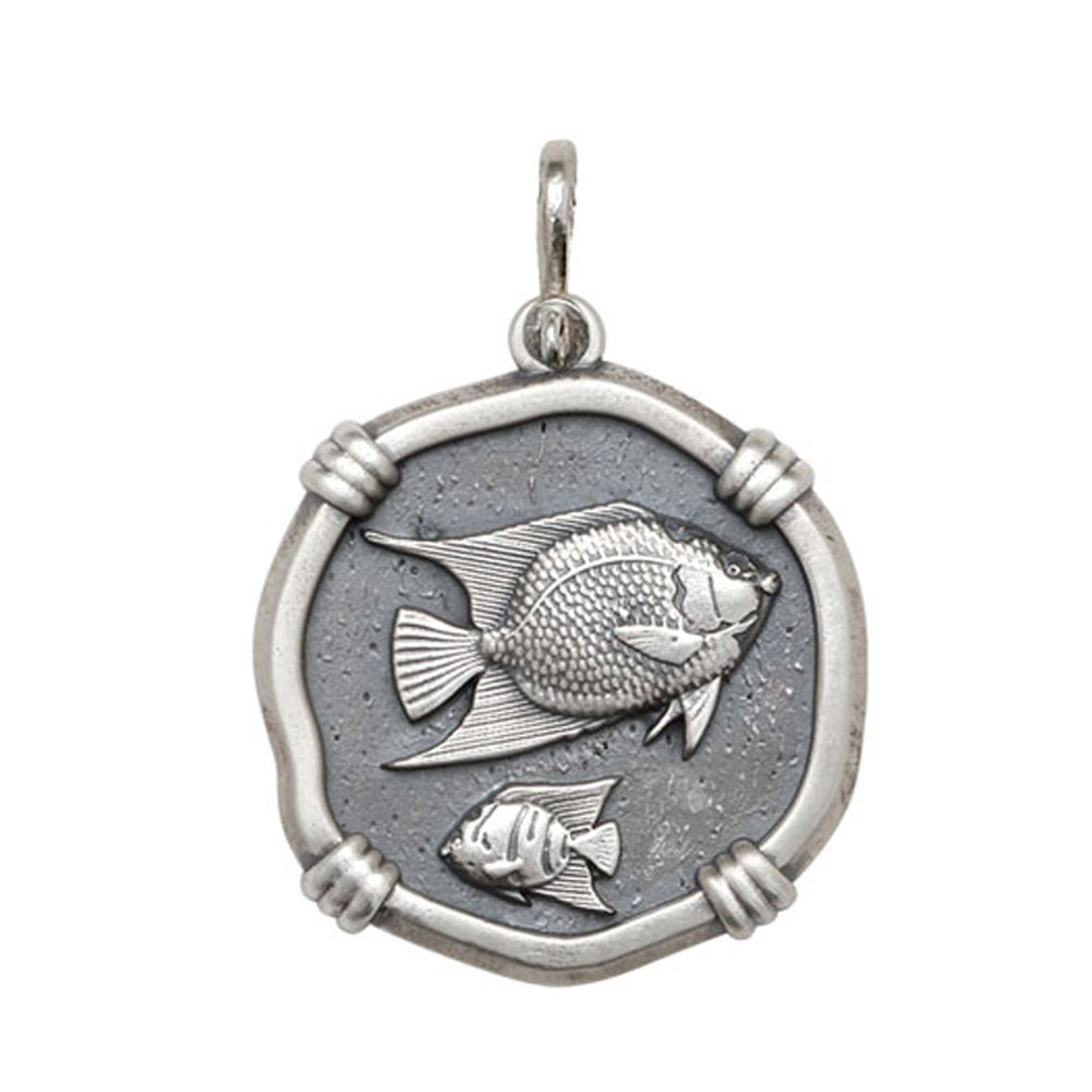 Guy Harvey Large size Angelfish Medallion Relic Finish Sterling Silver