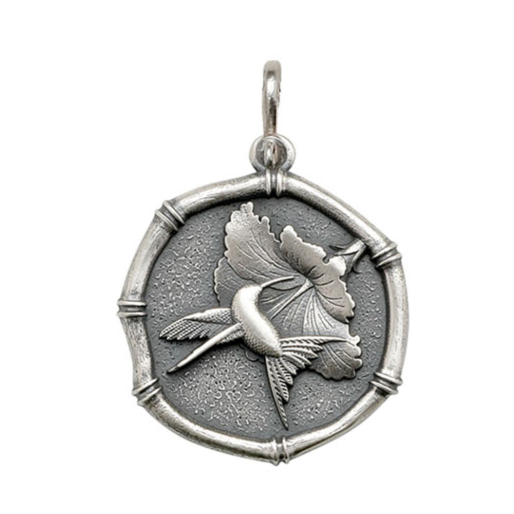 Guy Harvey Large size Hummingbird Medallion Relic Finish Sterling Silver