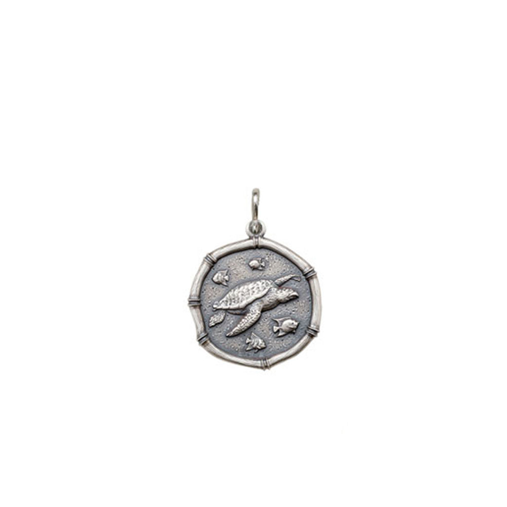 Guy Harvey Petite size Sea Turtle Medallion Relic Finish Sterling Silver