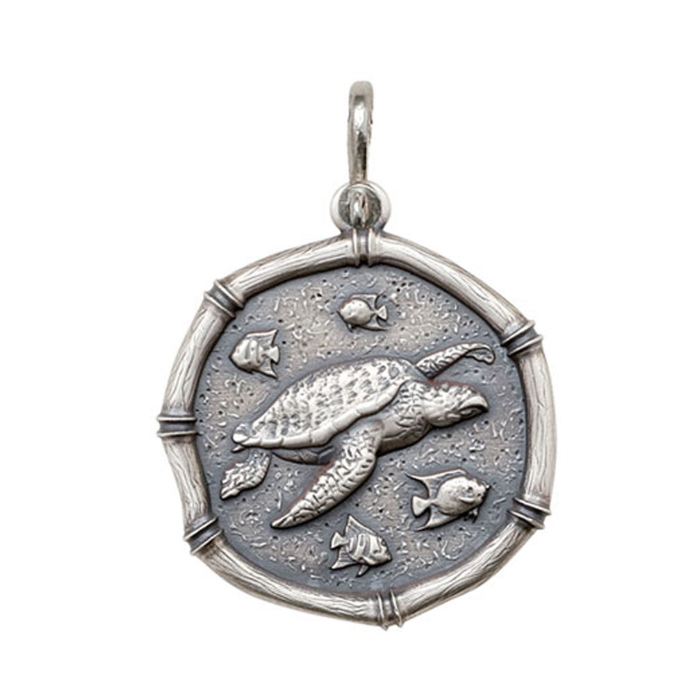 Guy Harvey Large size Sea Turtle Medallion Relic Finish Sterling Silver