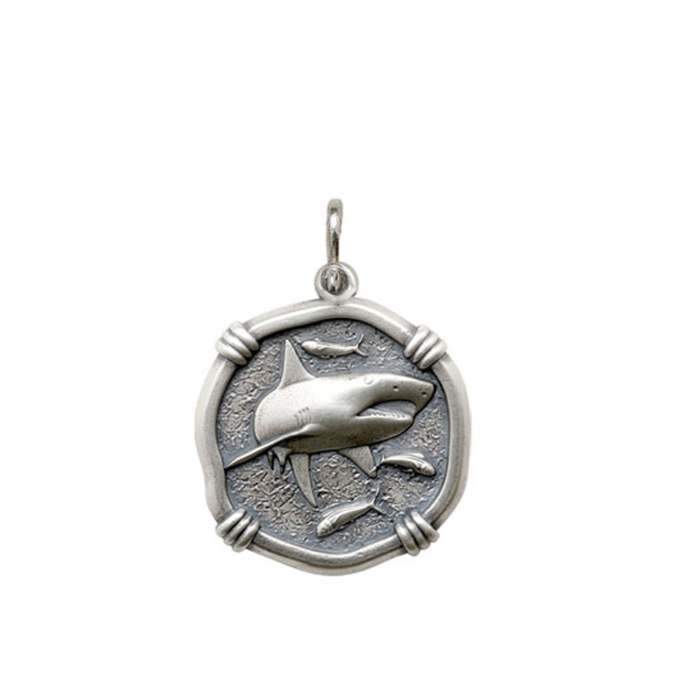 Guy Harvey Medium size Shark Medallion Relic Finish Sterling Silver
