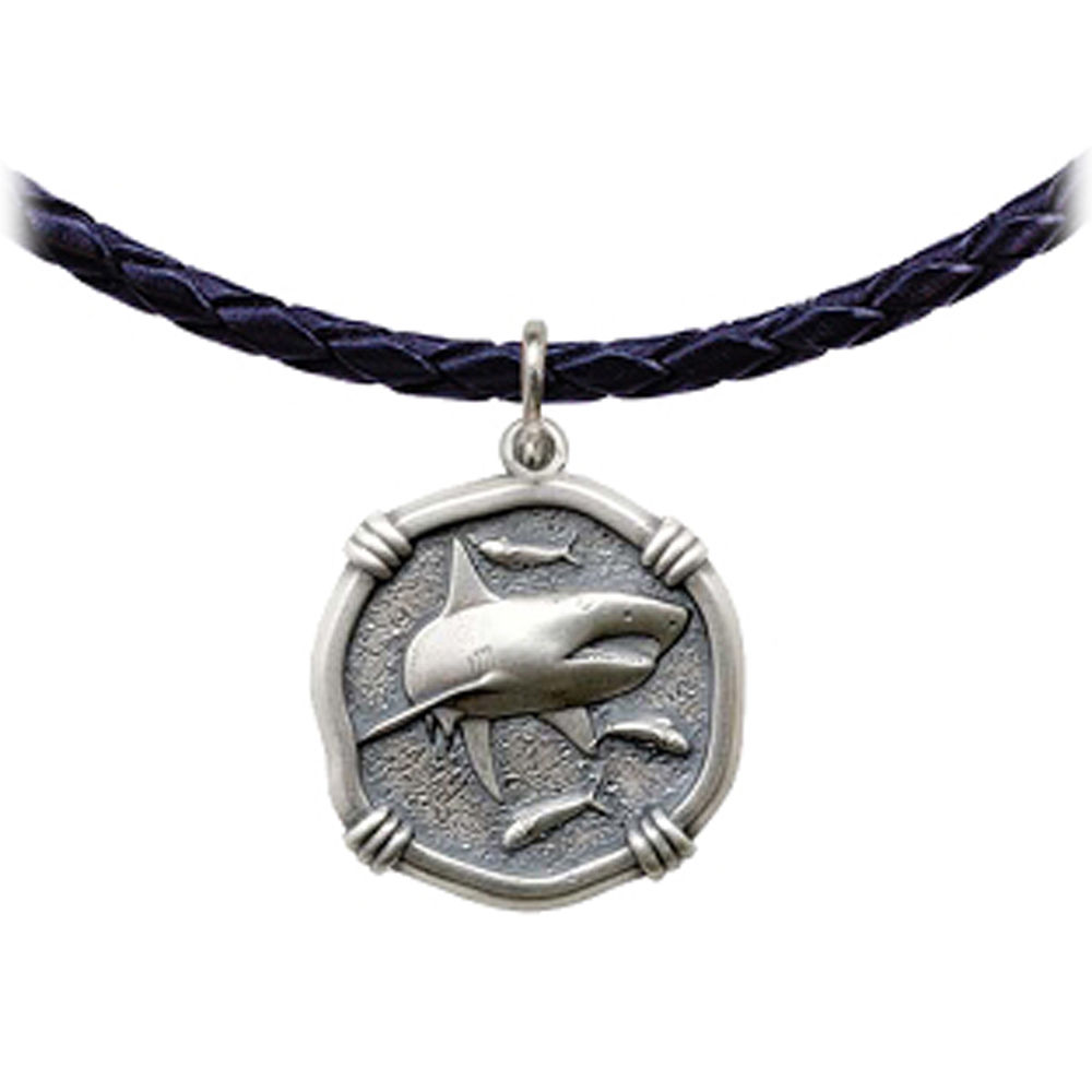 Guy Harvey Shark Leather Necklace Relic Finish 25mm Sterling Silver