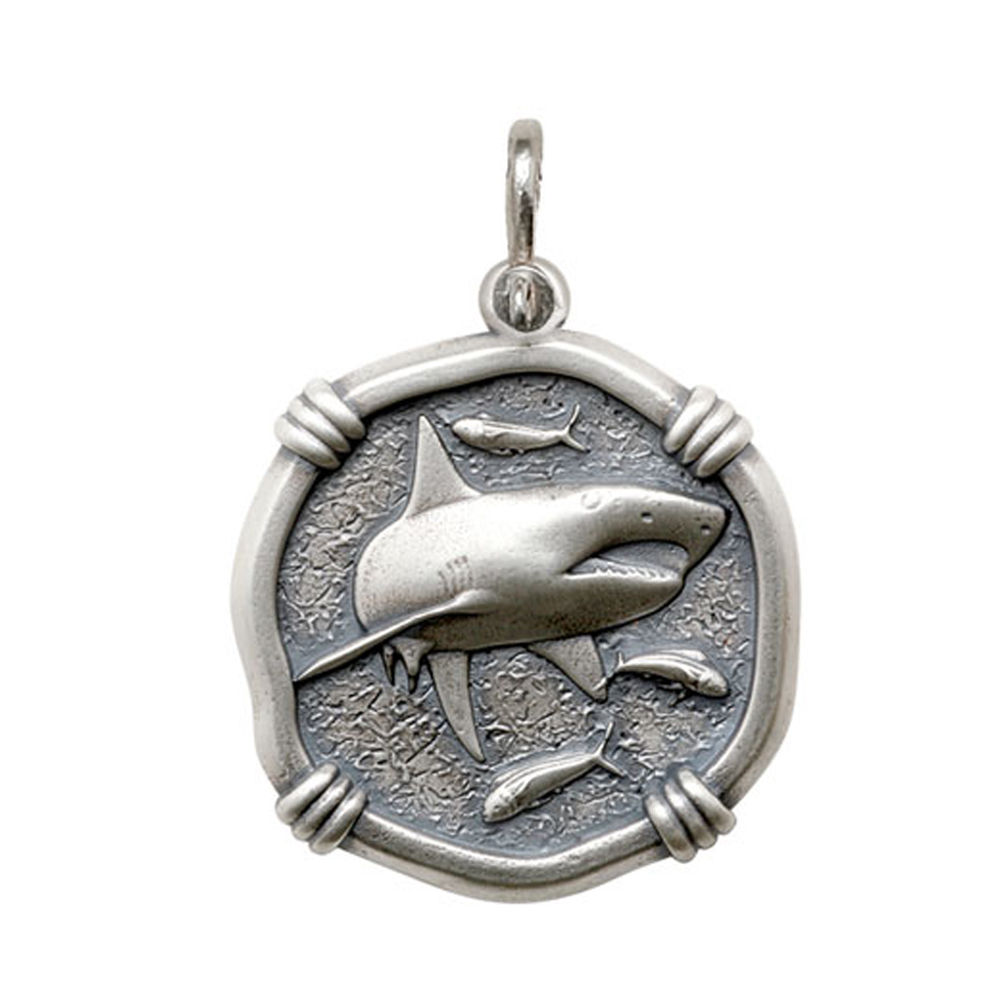 Guy Harvey Large size Shark Medallion Relic Finish Sterling Silver