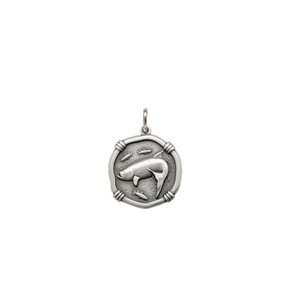 Guy Harvey Petite size Tarpon Medallion Relic Finish Sterling Silver