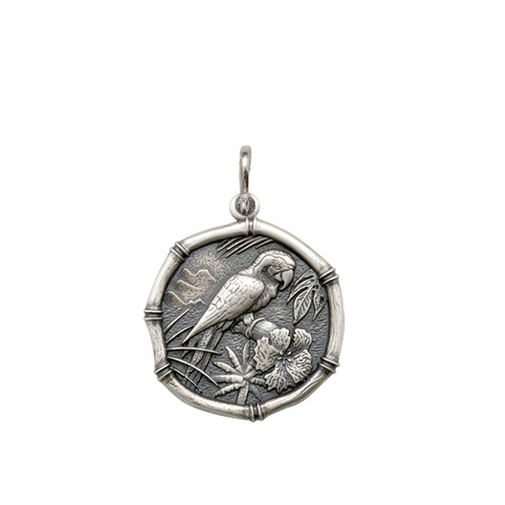 Guy Harvey Medium size Macaw Medallion Relic Finish Sterling Silver