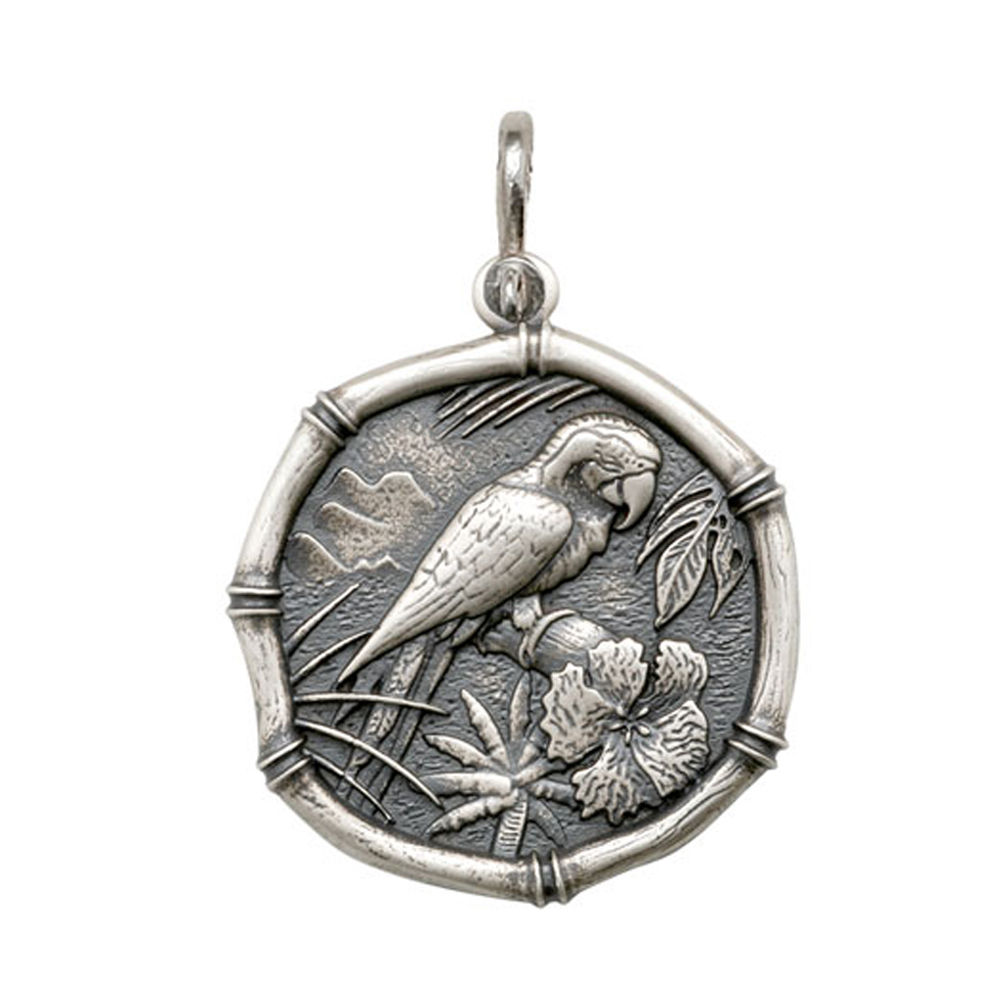 Guy Harvey Large size Macaw Medallion Relic Finish Sterling Silver